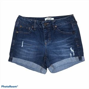 Refuge high rise distressed cuffed jean shorts 2